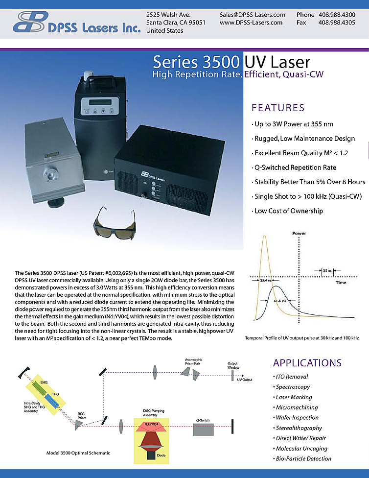 355nm Q-switched Laser, 3W