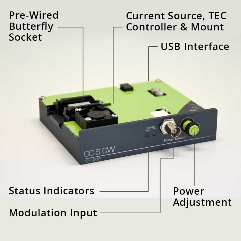 Precision 1500mA Current Source, Butterfly Mounting Socket & Temperature Controller